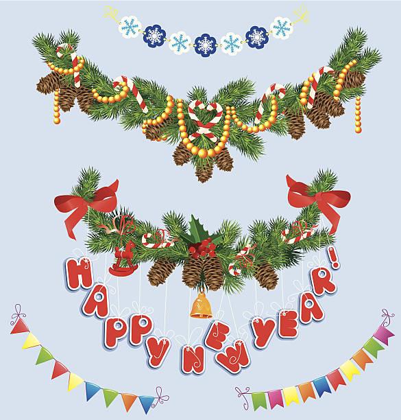 ilustrações de stock, clip art, desenhos animados e ícones de conjunto de natal e ano novo garlands - lian empty
