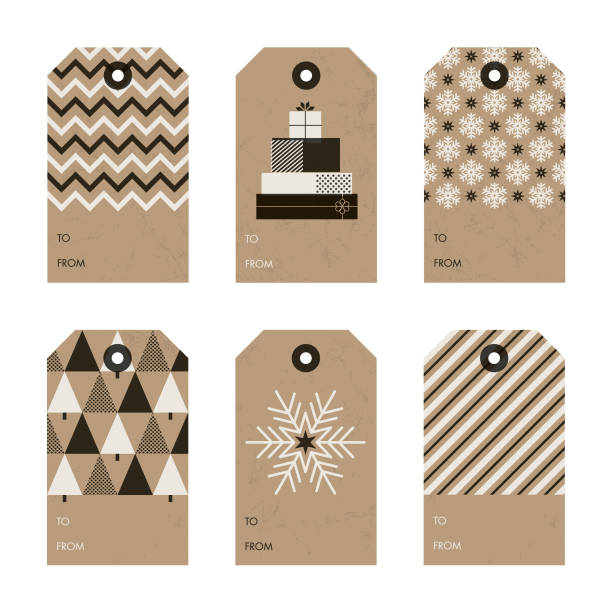 Set of Christmas and New Year gift tags. vector art illustration