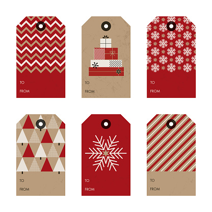 Set of Christmas and New Year gift tags.