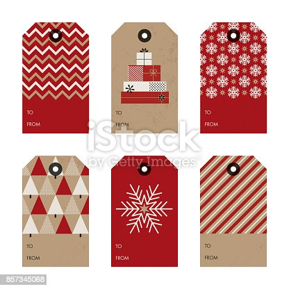 Set of Christmas and New Year gift tags - Illustration