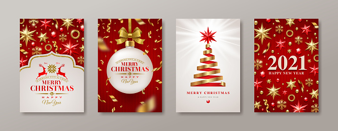 Set of Christmas and New Year greeting card. 2021 New Year poster. Background with Christmas tree and decor. Vector illustration. Holiday design for greeting card, invitation, cover, calendar, etc.