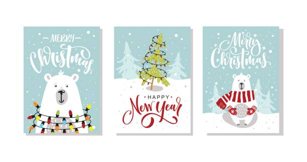 Set of Christmas and New Year greeting cards. Vector illustration. Hand drawn lettering. Set of Christmas and New Year greeting cards. Vector illustration. Hand drawn lettering. christmas fun stock illustrations