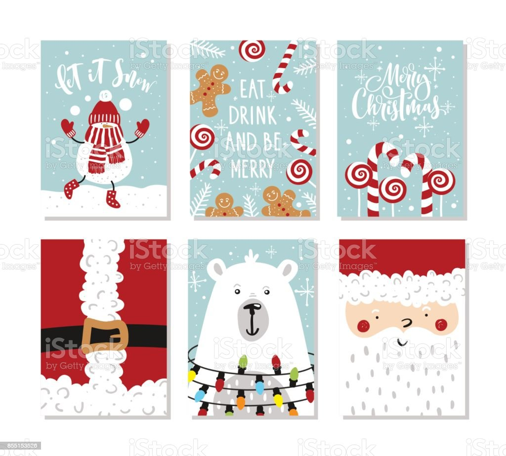 Set of Christmas and New Year greeting cards. Vector illustration. Hand drawn lettering. vector art illustration