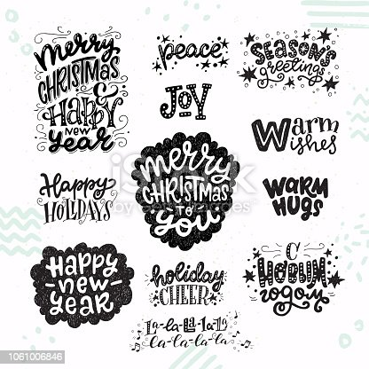 Set of inspirational Christmas and New Year hand lettering quotes. Festive holiday words, phrases and greetings for gift tags, cards, invitations, etc. Vector illustration.