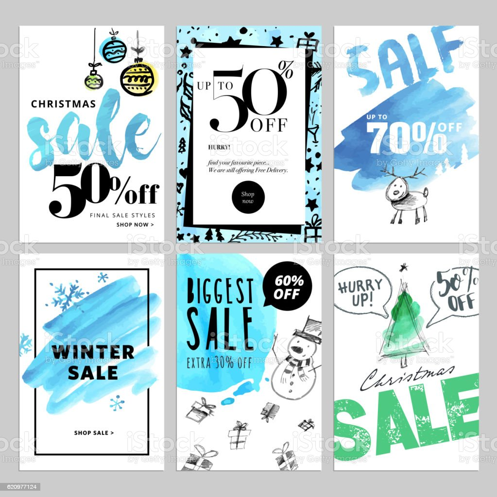 Set of Christmas and New Year mobile sale banners vector art illustration