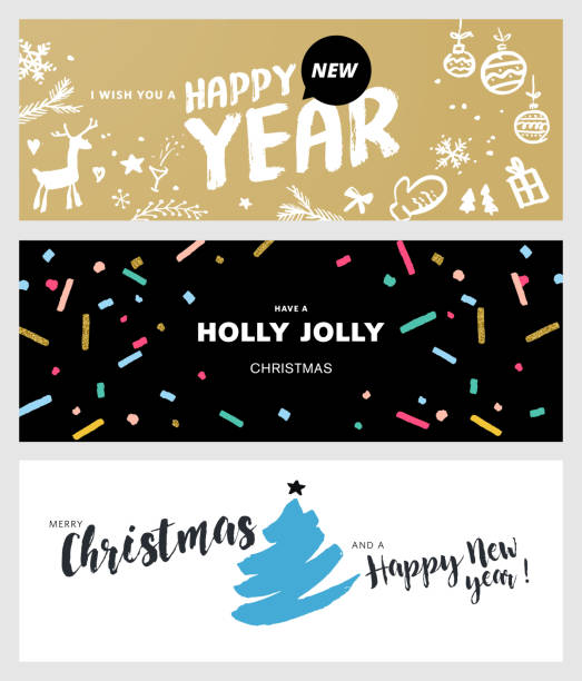 set of christmas and new year social media banners - naturkalender stock-grafiken, -clipart, -cartoons und -symbole