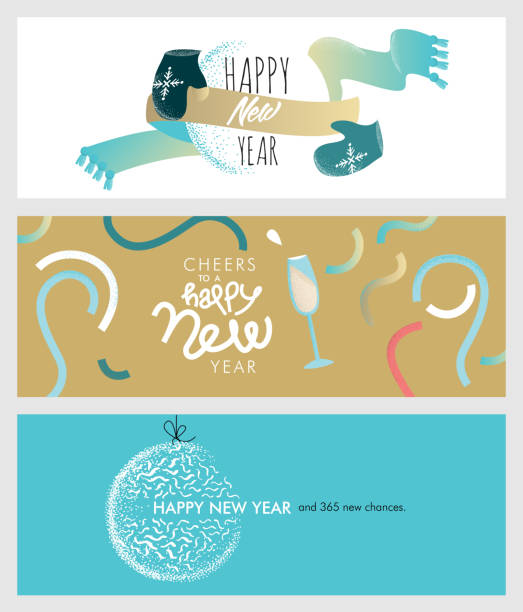 Set of Christmas and New Year social media banners vector art illustration