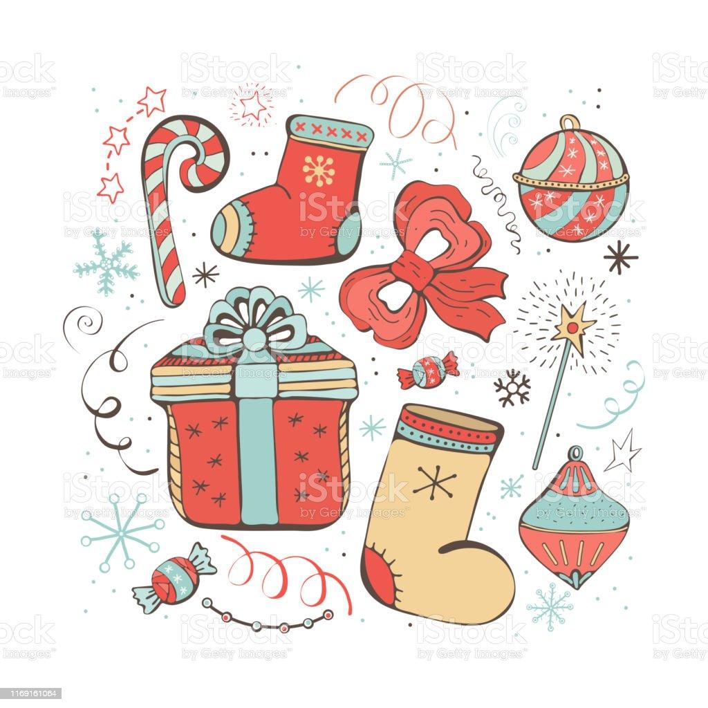 Bonitos Dibujos De Navidad A Color Faciles.Ilustracion De Conjunto De Iconos De Invierno De Navidad Y