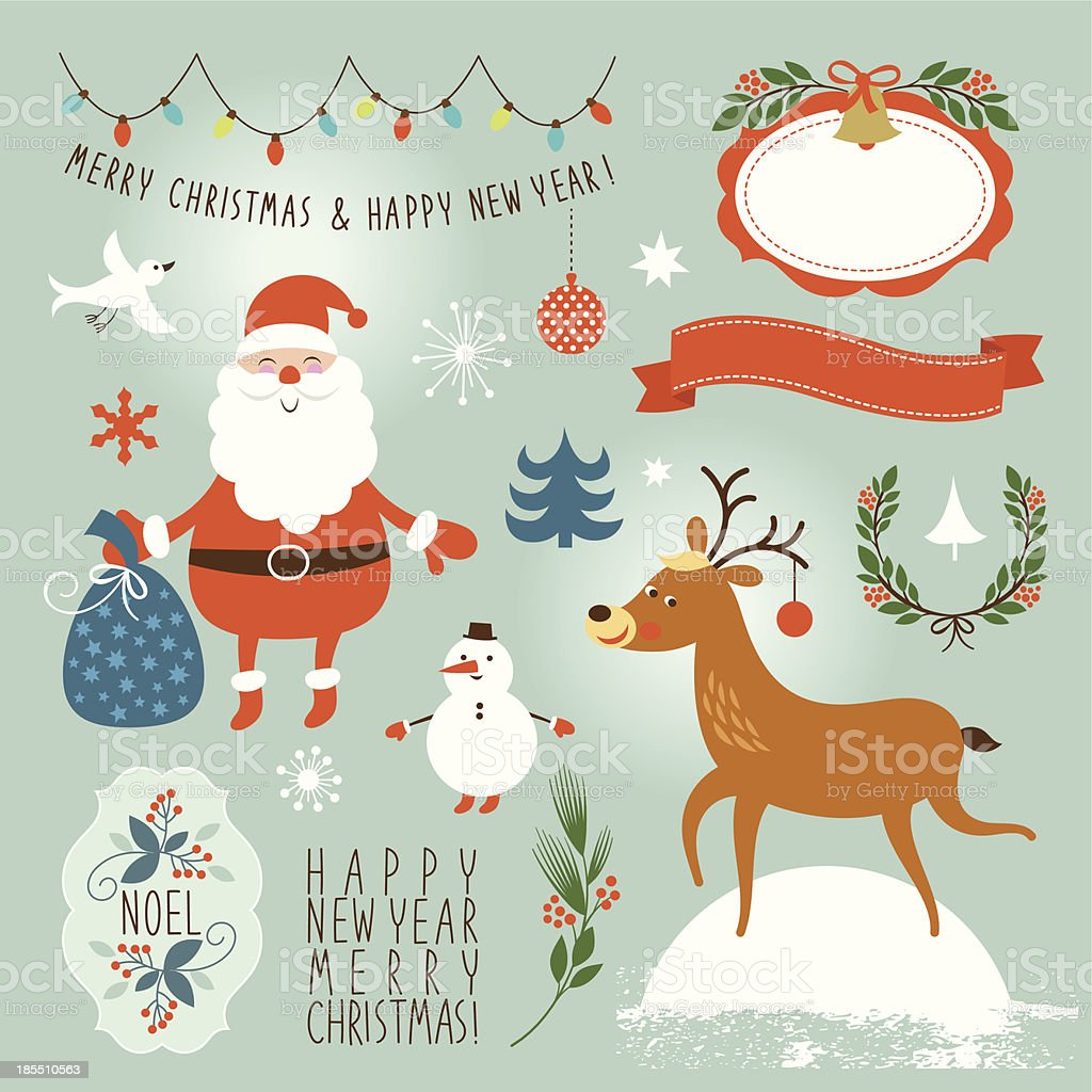 Set of Christmas and New Year's elements royalty-free stock vector art