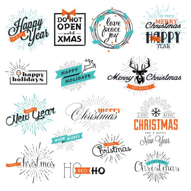satz von weihnachten und neujahr zeichen - firmenweihnachtsfeier stock-grafiken, -clipart, -cartoons und -symbole