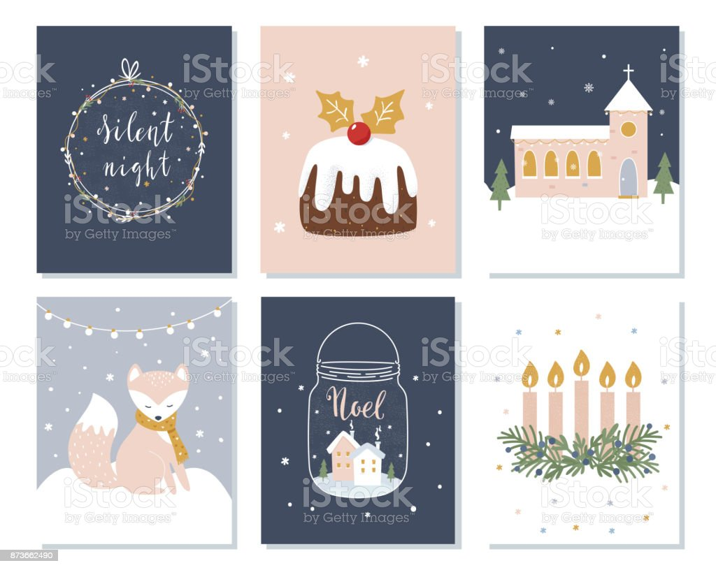 Conjunto de Navidad y tarjetas de vacaciones de invierno. Corona de Adviento, la iglesia y signos de letras. Ilustración de vector - ilustración de arte vectorial