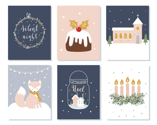 set of christmas and winter holidays cards. advent wreath, church and lettering signs. vector illustration - advent stock illustrations