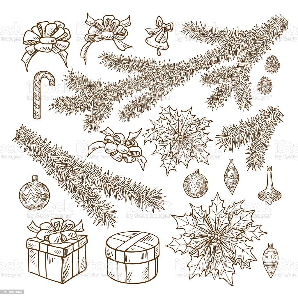 Set of Christmas attributes in retro style Lizenzfreies set of christmas attributes in retro style stock vektor art und mehr bilder von baum