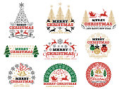 Set of Christmas badges/labels, vector illustration.