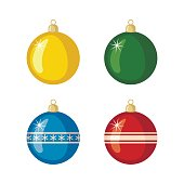 Set of Christmas balls icons in flat style.
