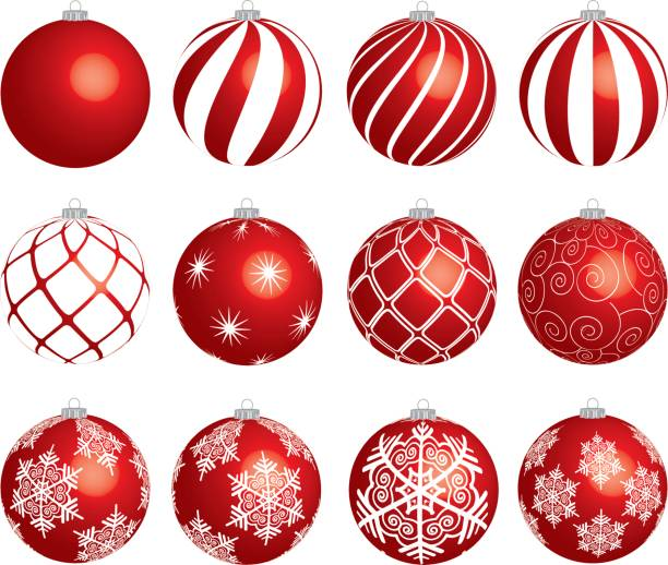noel topları - illüstrasyon kümesi - christmas decorations stock illustrations
