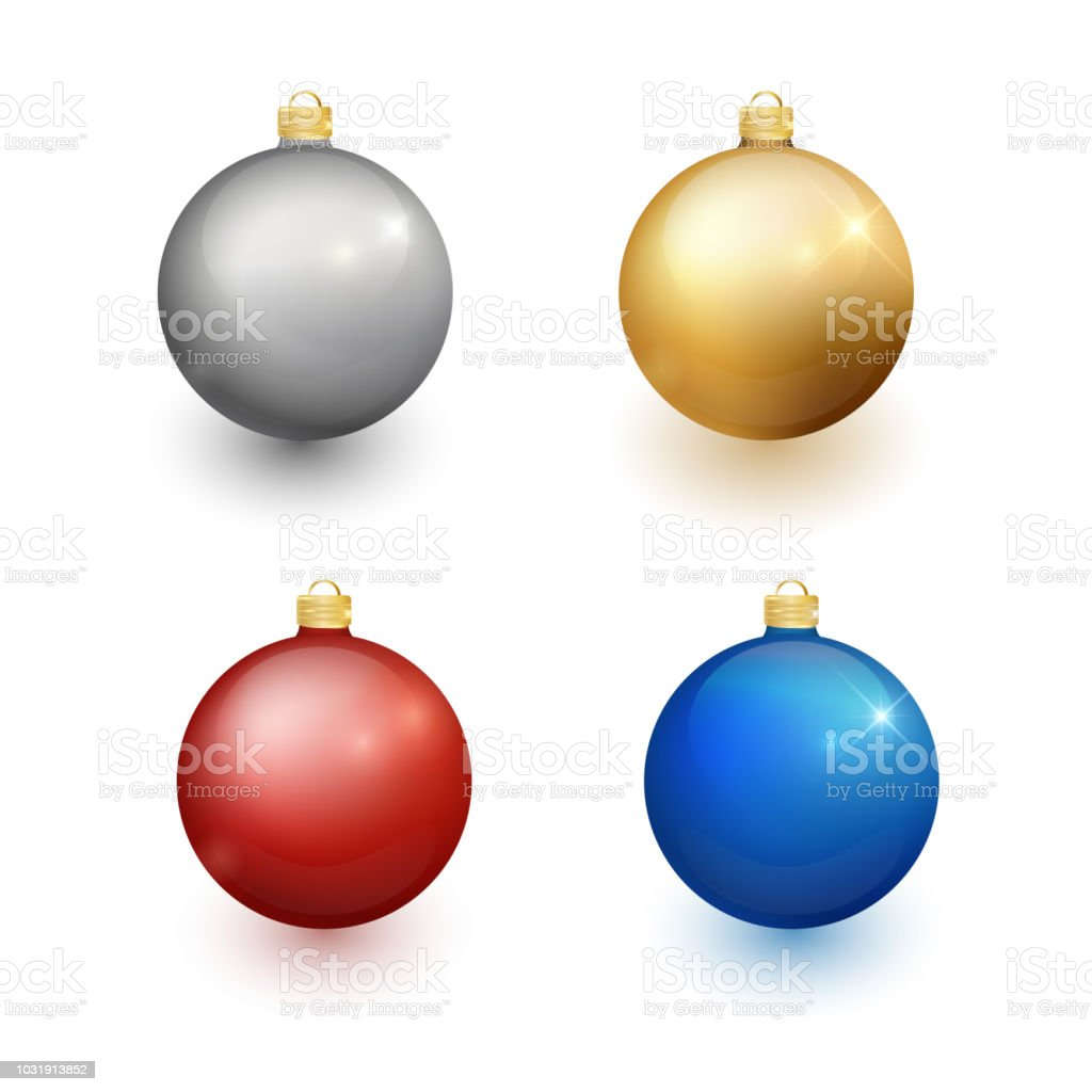 Set Of Christmas Balls On A White Background Christmas Decorations ...