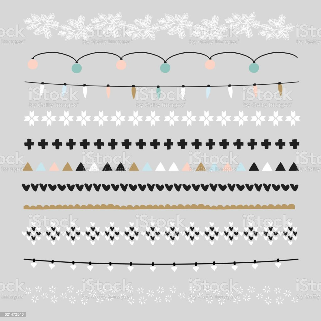 Set of Christmas borders, brushes. Party decorations with Christmas lights. vector art illustration
