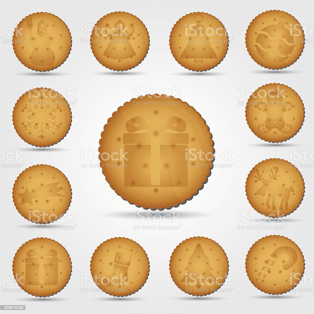 set of christmas brown biscuit with symbols eps10 vector art illustration