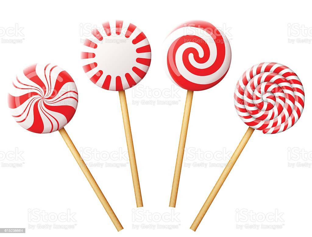 Set of christmas candy on wooden stick - Illustration vectorielle