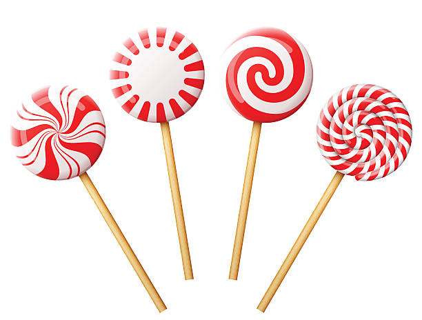 set of christmas candy on wooden stick - pfefferminze stock-grafiken, -clipart, -cartoons und -symbole