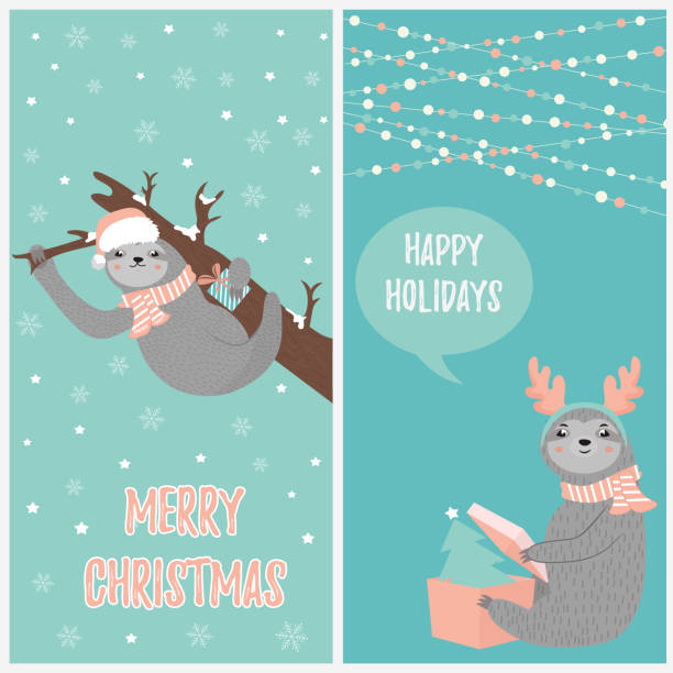 Set of Christmas card with two funny sloths in winter clothes Set of Christmas card with two funny sloths in winter clothes. baby sloth stock illustrations