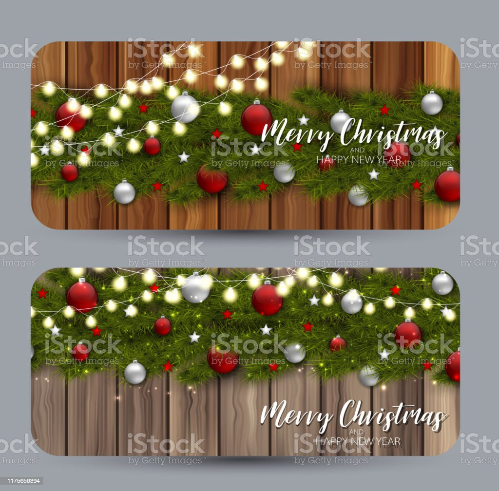 Set Of Christmas Cards Green Branches Of Fir Tree With Decor Over Wooden Rustic Background Winter Holiday Design Concept Realistic Vector Illustration Stock Illustration Download Image Now Istock
