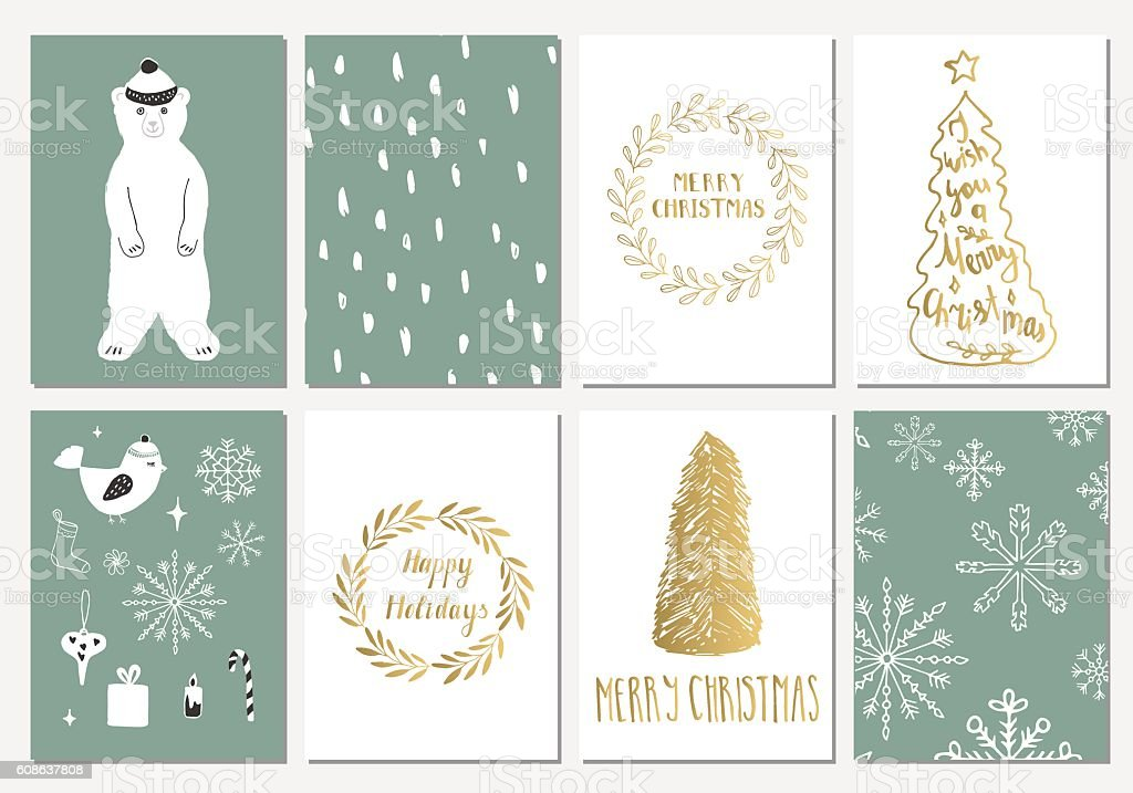 Set of Christmas cards vector art illustration