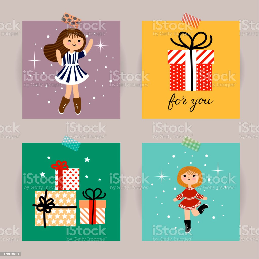 Set Of Christmas Cards Vector Illustrations Of Christmas Attributes ...