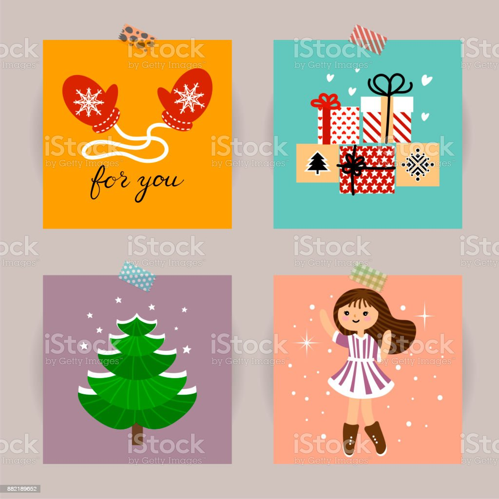 set of christmas cards vector illustrations of christmas attributes illustration for kids poster - How To Sign A Christmas Card