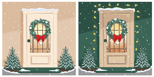 Set of Christmas cards with a door