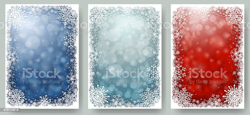 Set of Christmas cards with frame of snowflakes vector art illustration