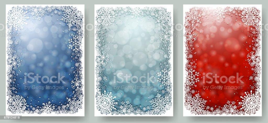 Sistema de tarjetas de Navidad con el marco de los copos de nieve - ilustración de arte vectorial