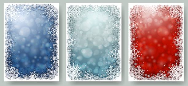 set of christmas cards with frame of snowflakes - holiday backgrounds stock illustrations, clip art, cartoons, & icons