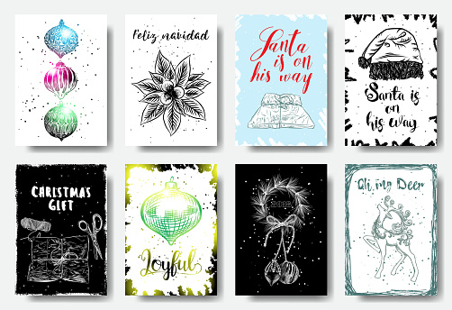 Set of Christmas cards with garlands. Merry Christmas posters. Feliz navidad, Santa is on his way, Christmas gift, Joyful, 2018, Oh my deer. Vector.