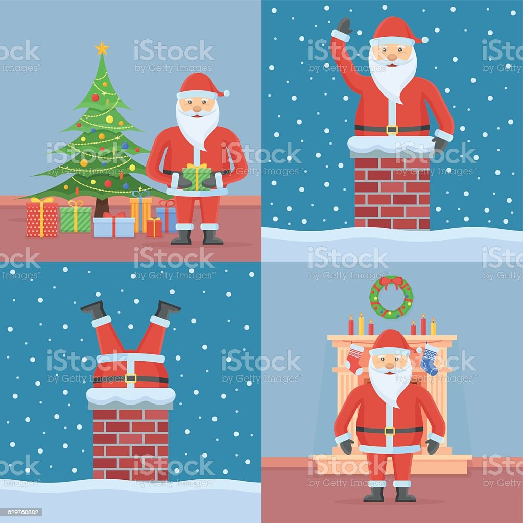 Set Of Christmas Cards With Santa Claus Stock Vector Art & More ...