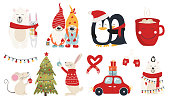 Christmas collection with cute animals and decorative elements. Characters hugs hand drawn. Vector illustration