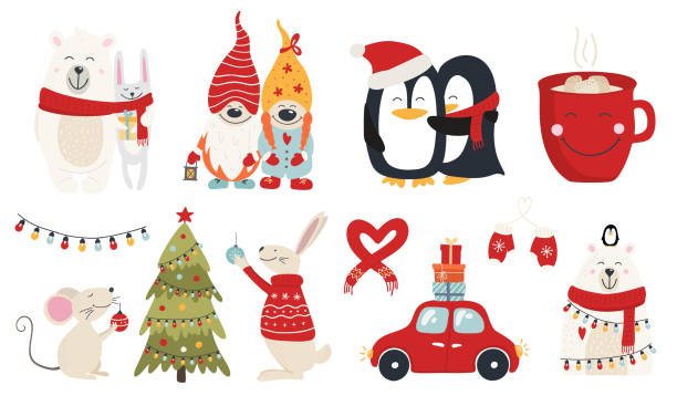 Set of christmas characters hugs Christmas collection with cute animals and decorative elements. Characters hugs hand drawn. Vector illustration car love stock illustrations