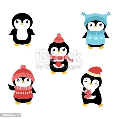Set of cute cartoon penguin. Christmas theme.