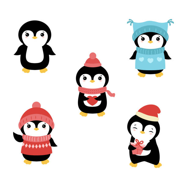 set of christmas characters. - penguin stock illustrations