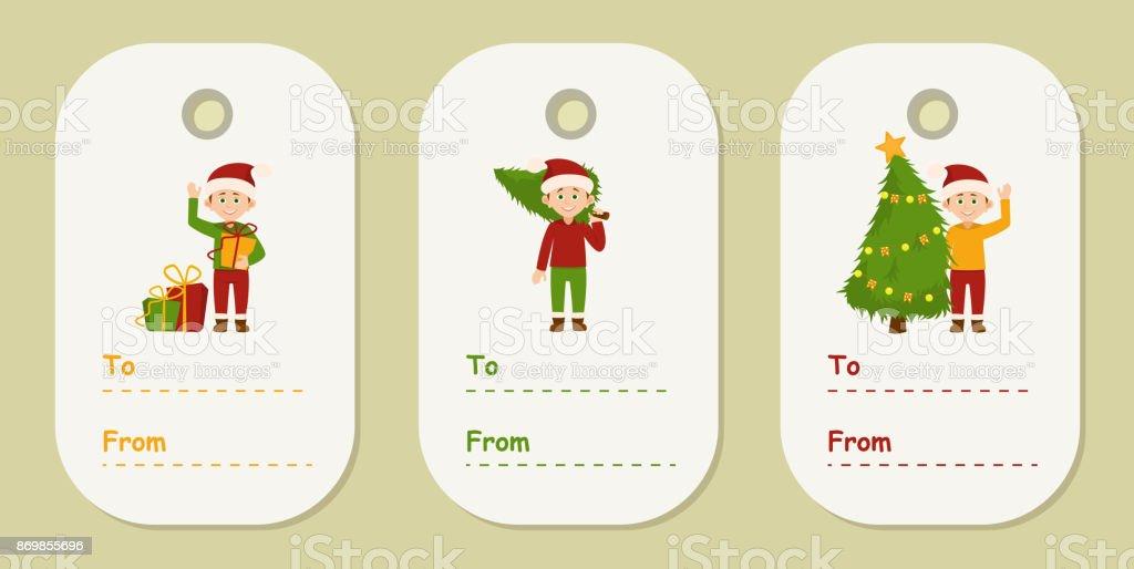 Grappige Kerstkaarten E Cards.Set Kerstkaarten Van Kleurrijke Geschenk Met Grappige