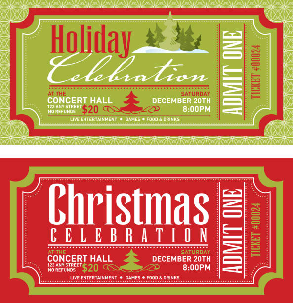 Set of Christmas concert tickets templates Vector illustration of a set of Christmas concert ticket templates. Includes sample text design. admit one stock illustrations
