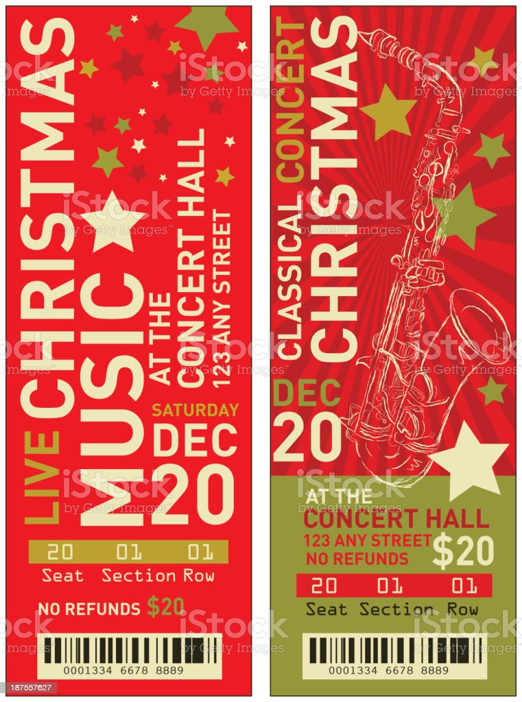 Set Of Christmas Concert Tickets Templates Stock Vector Art  More