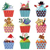 Cupcakes with different Variations of Christmas symbols. RGB.