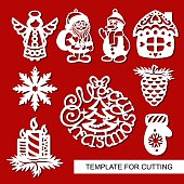 Template for laser cutting, wood carving, paper cut. Decoration for xmas tree. Vector.
