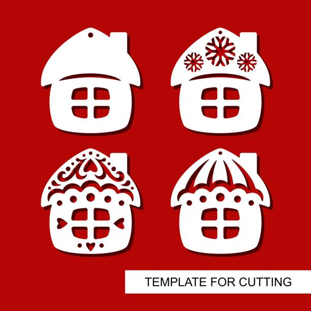 Set of christmas Decoration. Silhouettes of huts (small houses) Template for laser cutting, wood carving, paper cut. Decor for xmas tree. Vector illustration. decorative laser cut set stock illustrations