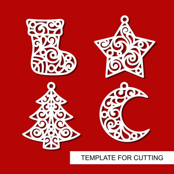satz von weihnachtsdekoration: socke, stern, weihnachtsbaum und halbmond. - stanzen stock-grafiken, -clipart, -cartoons und -symbole