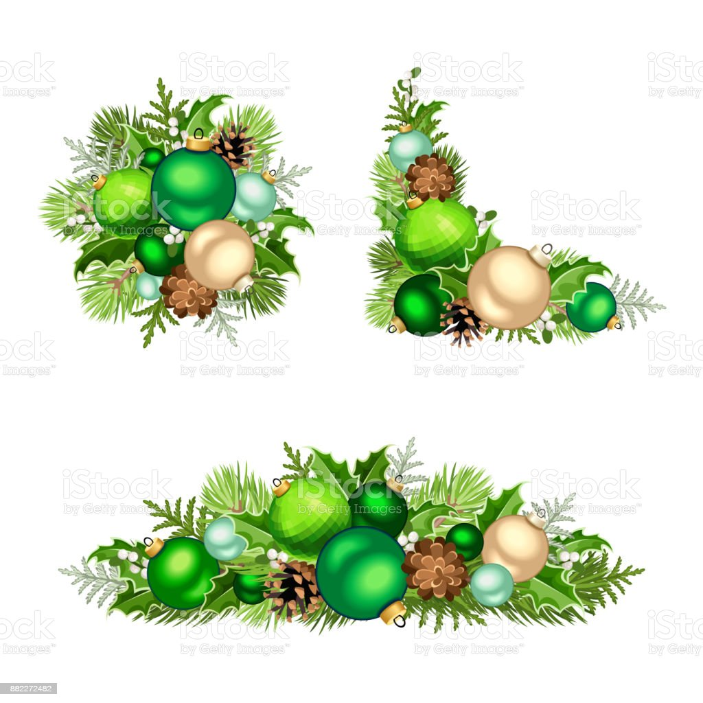 Set Of Christmas Decorations Vector Illustration Stock Vector Art ...