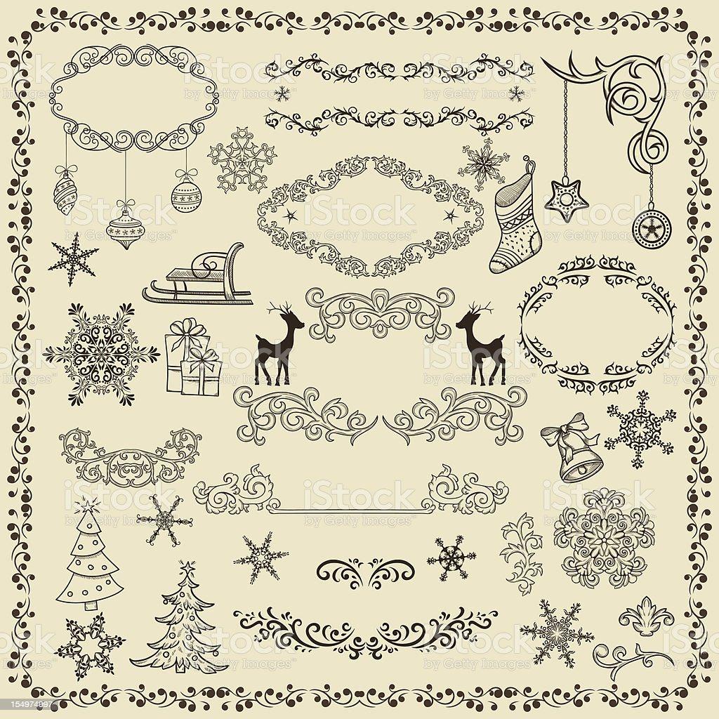 Set of Christmas design elements royalty-free stock vector art