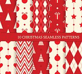 Set of 10 Christmas different seamless patterns. Endless texture for wallpaper, web page background, wrapping paper and etc. Retro style.